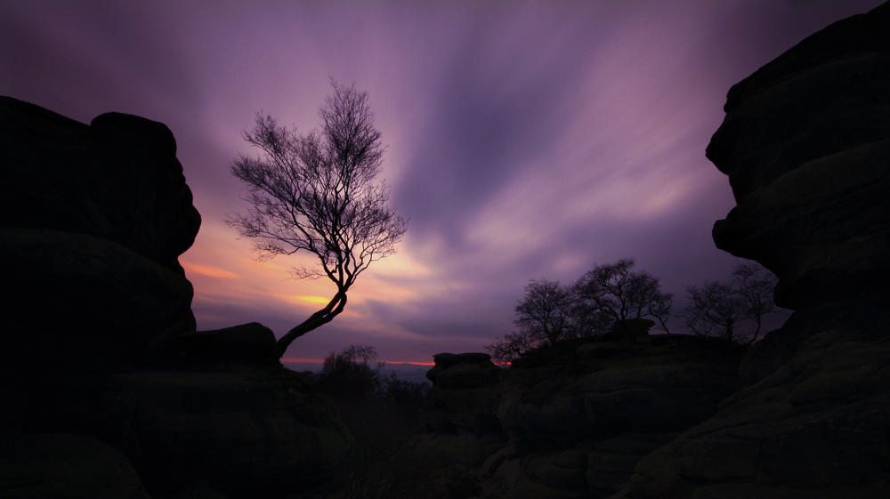 photoblog image dusk at brimham rocks.